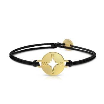 UKIYYO Armband schwarz KOMPASS gold