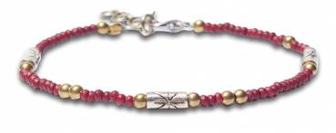 NOOSA Amsterdam Armband RAW ROMANCE CIRCLE OF LIFE BEADS bordeaux