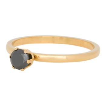 iXXXi Füllring CROWN BLACK DIAMOND STONE gold - 2 mm