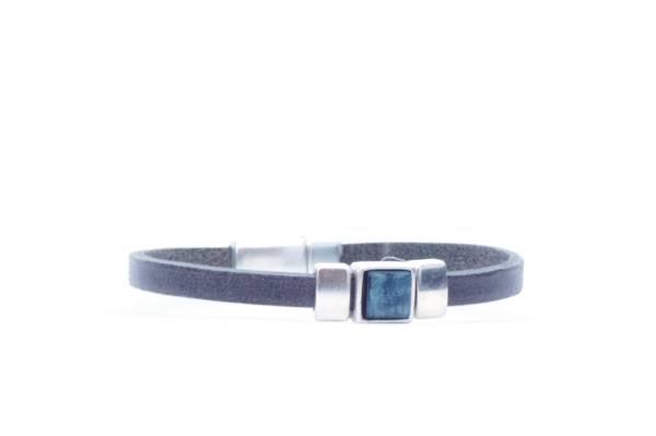QOSS Armband LAURA vintage schwarz Stein jeansblau